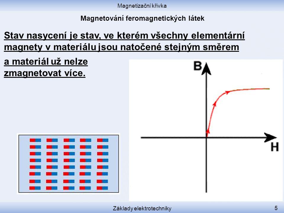 Magnetizační křivka Základy elektrotechniky 5 Stav nasycení je stav, ve kterém všechny elementární magnety v materiálu jsou natočené stejným směrem a materiál už nelze zmagnetovat více.