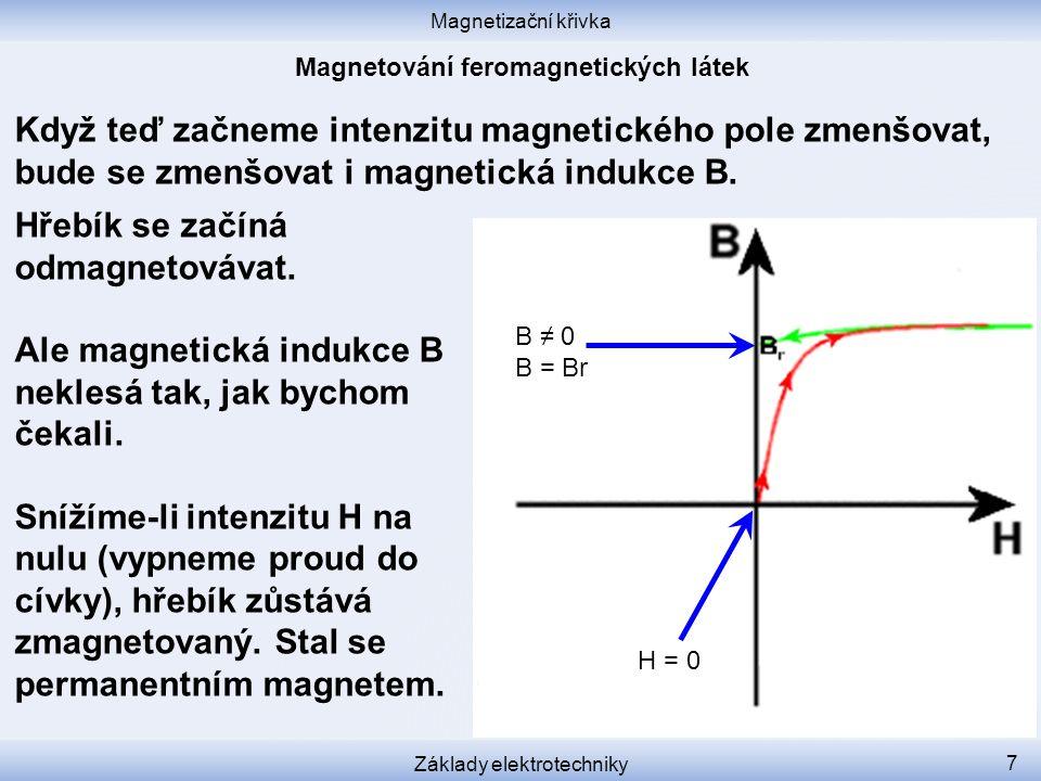 Magnetizační křivka Základy elektrotechniky 7 Když teď začneme intenzitu magnetického pole zmenšovat, bude se zmenšovat i magnetická indukce B.