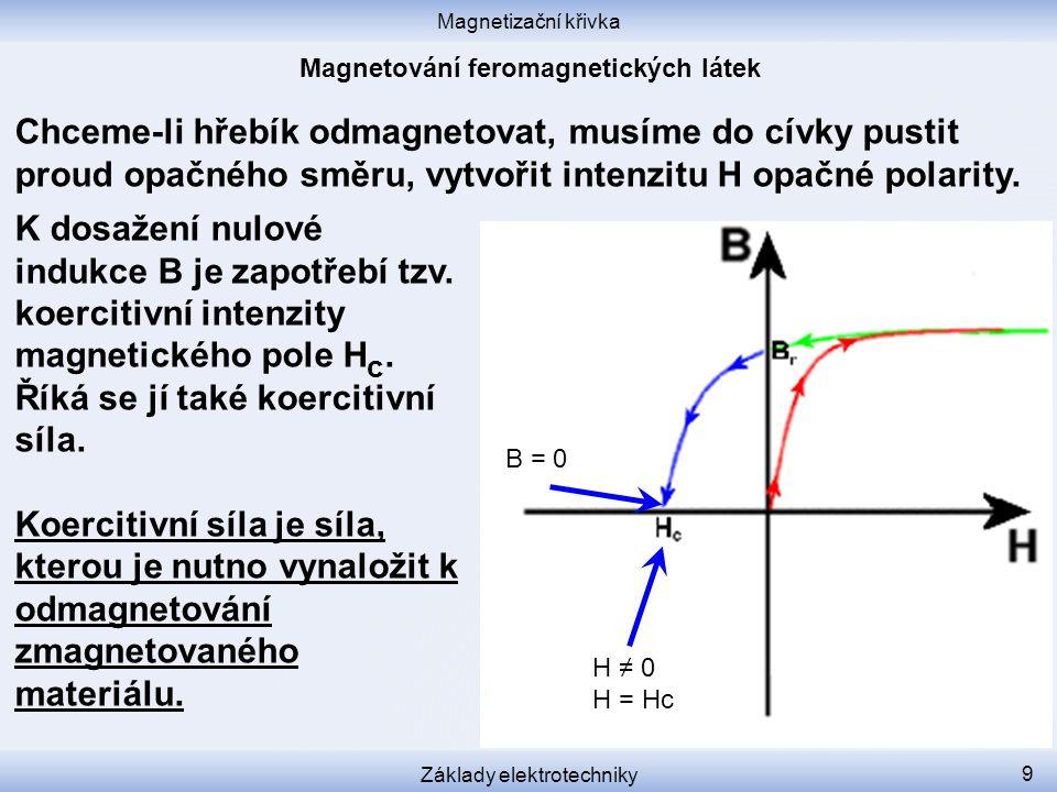 Magnetizační křivka Základy elektrotechniky 9 Chceme-li hřebík odmagnetovat, musíme do cívky pustit proud opačného směru, vytvořit intenzitu H opačné polarity.