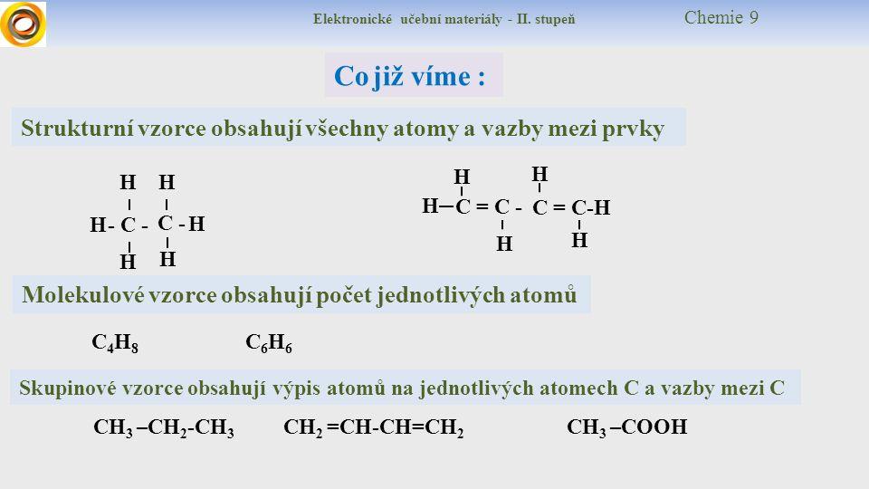 Elektronické učební materiály - II. stupeň Chemie 9 Co již víme : Molekulové vzorce obsahují počet jednotlivých atomů Strukturní vzorce obsahují všech