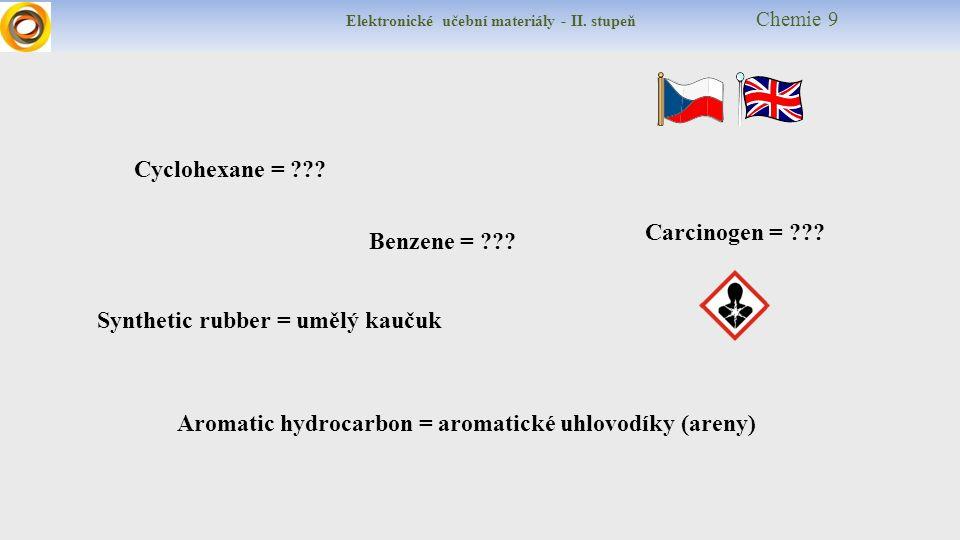 Elektronické učební materiály - II. stupeň Chemie 9 Cyclohexane = ??? Benzene = ??? Synthetic rubber = umělý kaučuk Aromatic hydrocarbon = aromatické