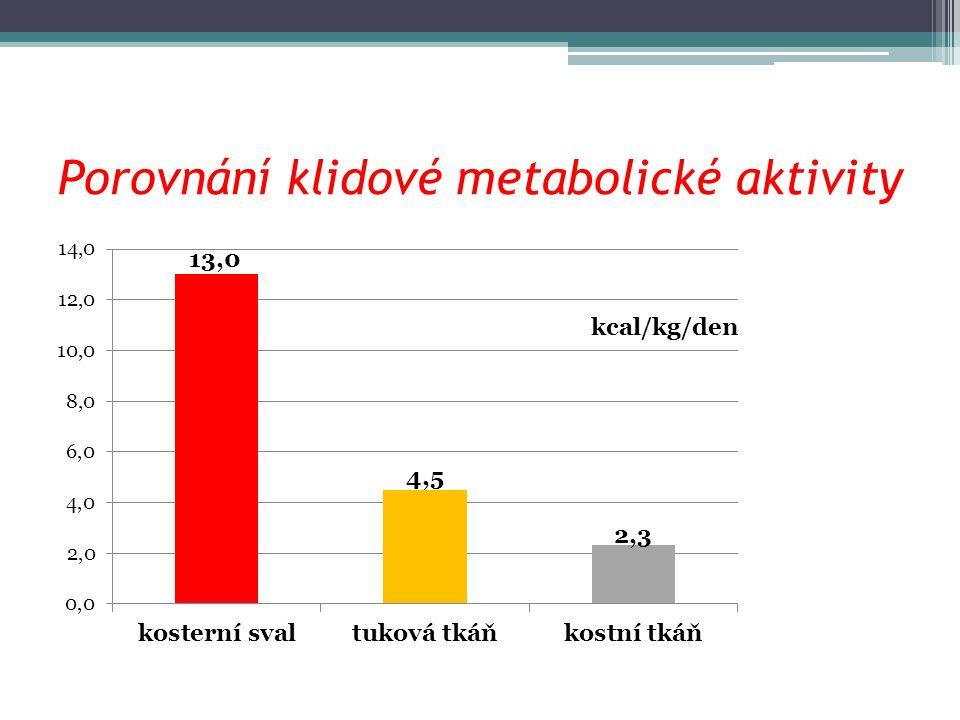 Porovnání klidové metabolické aktivity kcal/kg/den