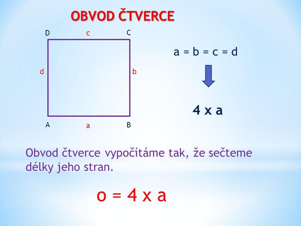 OBVOD ČTVERCE Obvod čtverce vypočítáme tak, že sečteme délky jeho stran.