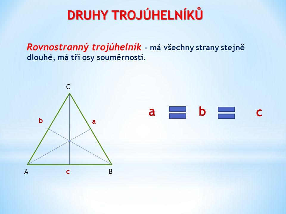 DRUHY TROJÚHELNÍKŮ Rovnostranný trojúhelník - má všechny strany stejně dlouhé, má tři osy souměrnosti. ab c BA C a b c