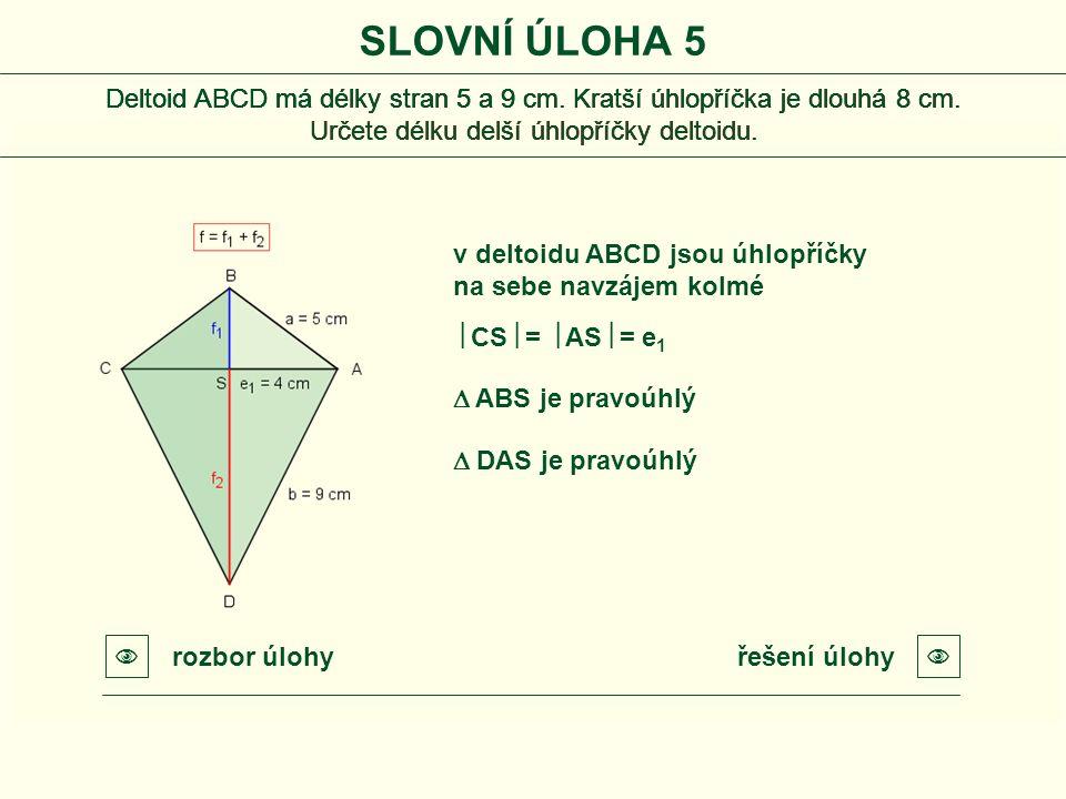Deltoid ABCD má délky stran 5 a 9 cm. Kratší úhlopříčka je dlouhá 8 cm. Určete délku delší úhlopříčky deltoidu. Deltoid ABCD má délky stran 5 a 9 cm.
