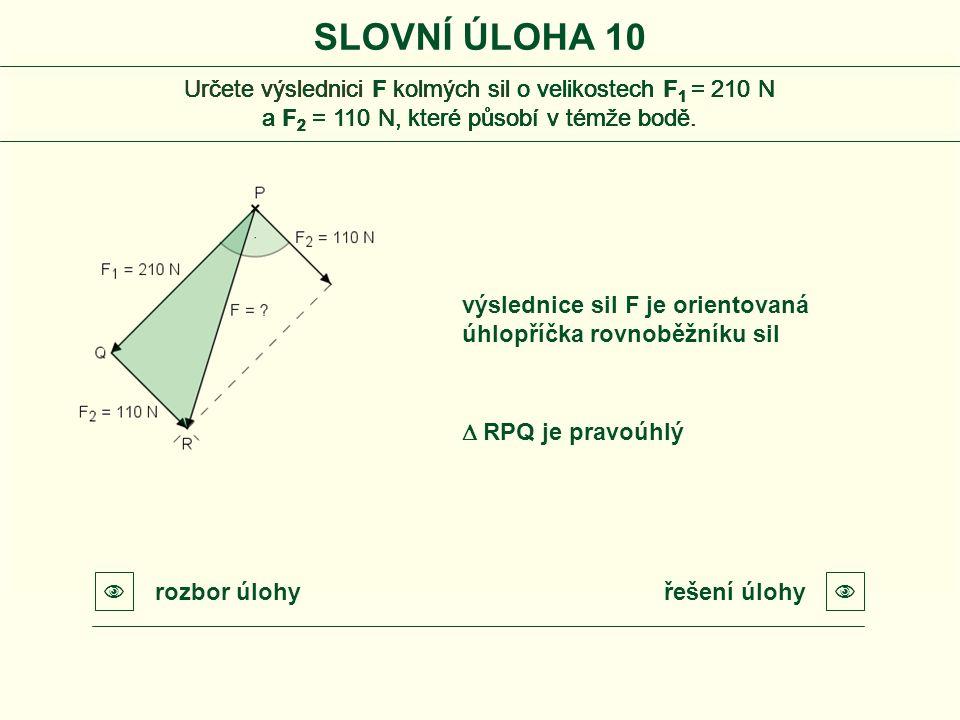řešení úlohyrozbor úlohy   RPQ je pravoúhlý výslednice sil F je orientovaná úhlopříčka rovnoběžníku sil SLOVNÍ ÚLOHA 10 Určete výslednici F kolmých