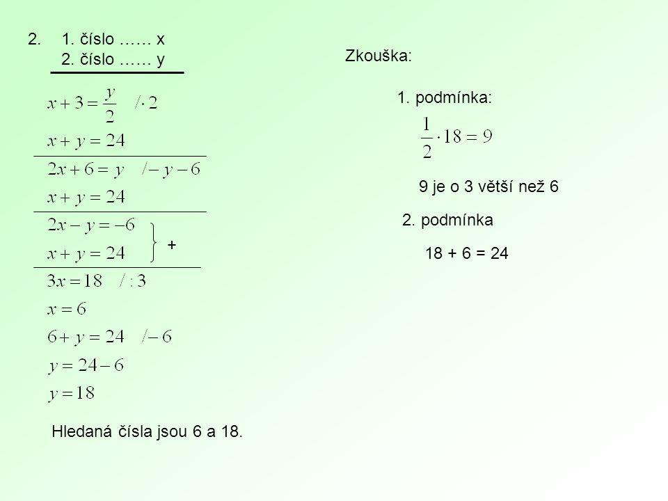 2.1. číslo …… x 2. číslo …… y + Zkouška: 1. podmínka: 9 je o 3 větší než 6 2. podmínka 18 + 6 = 24 Hledaná čísla jsou 6 a 18.
