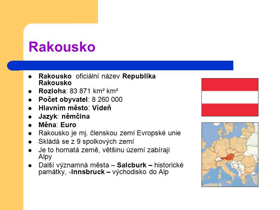 Rakousko Rakousko oficiální název Republika Rakousko Rozloha: 83 871 km² km² Počet obyvatel: 8 260 000 Hlavním město: Vídeň Jazyk: němčina Měna: Euro