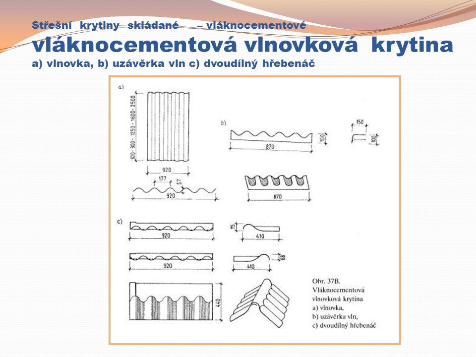 Střešní krytiny skládané – vláknocementové vláknocementová vlnovková krytina a) vlnovka, b) uzávěrka vln c) dvoudílný hřebenáč