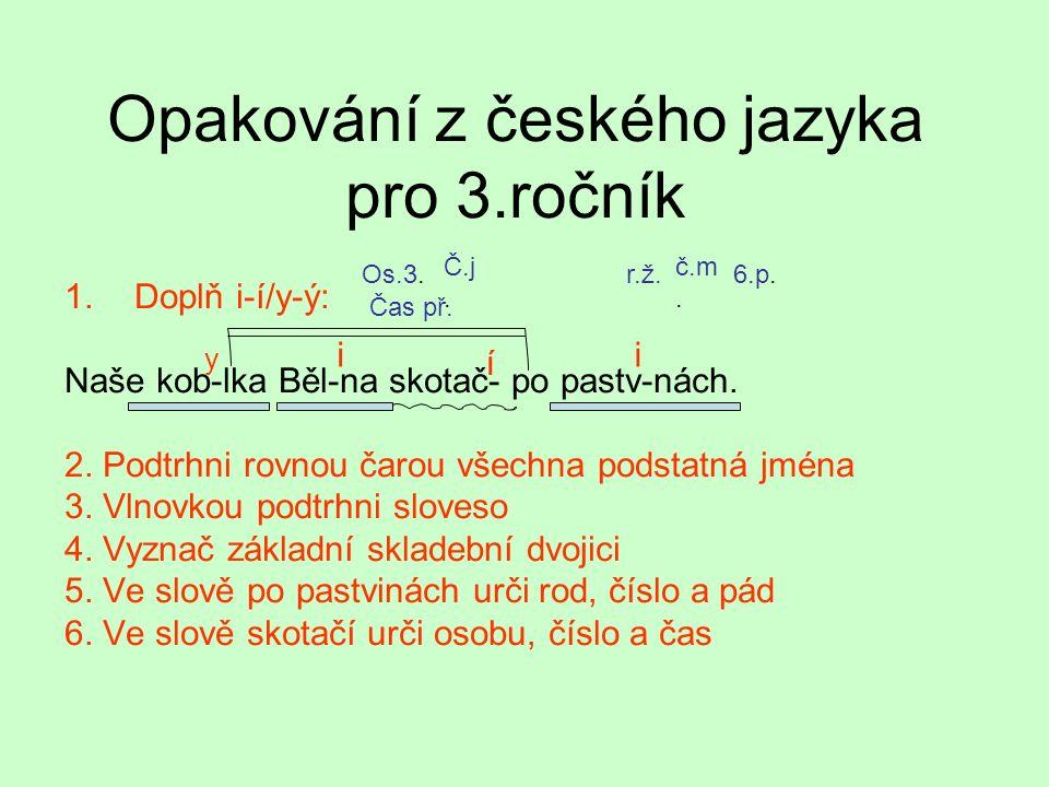 Opakování z českého jazyka pro 3.ročník 1.Doplň i-í/y-ý: Naše kob-lka Běl-na skotač- po pastv-nách.