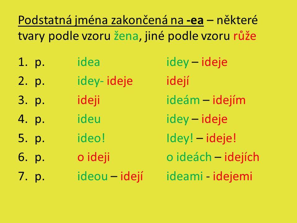Podstatná jména zakončená na -ea – některé tvary podle vzoru žena, jiné podle vzoru růže 1.p.ideaidey – ideje 2.p.idey- idejeidejí 3.p.idejiideám – id