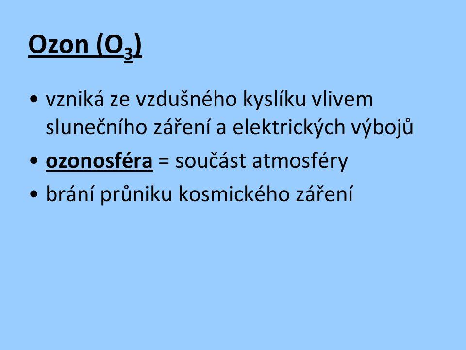 Ozon (O 3 ) vzniká ze vzdušného kyslíku vlivem slunečního záření a elektrických výbojů ozonosféra = součást atmosféry brání průniku kosmického záření
