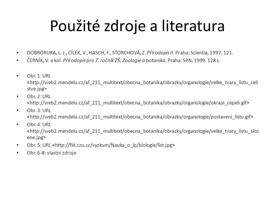 Použité zdroje a literatura DOBRORUKA, L. J., CÍLEK, V., HASCH, F., STORCHOVÁ, Z. Přírodopis II. Praha: Scientia, 1997. 121. ČERNÍK, V. a kol. Přírodo