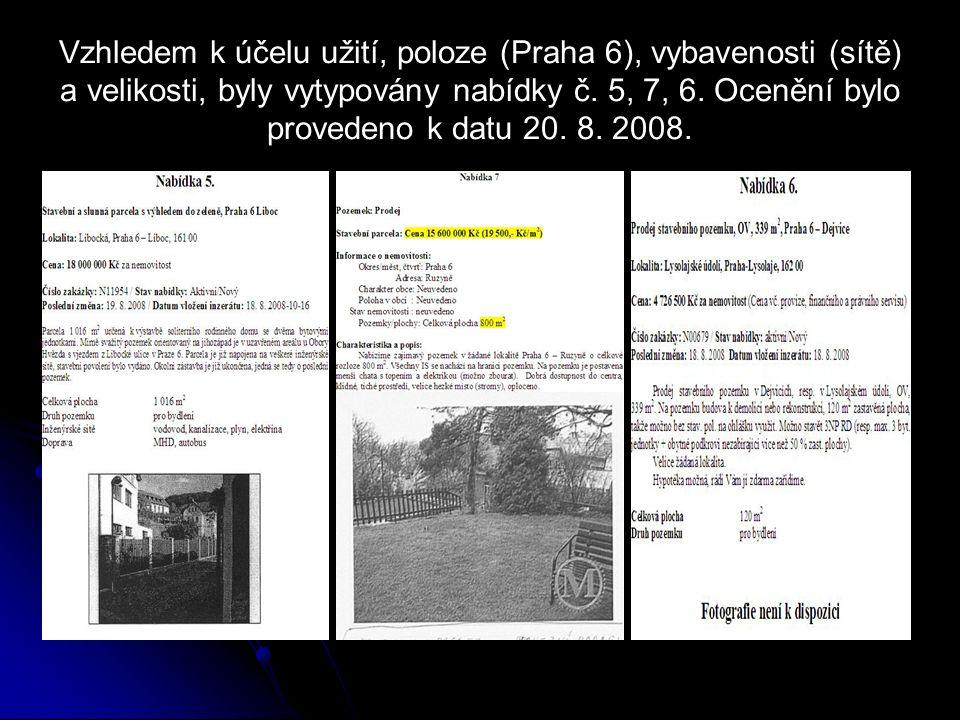 Vzhledem k účelu užití, poloze (Praha 6), vybavenosti (sítě) a velikosti, byly vytypovány nabídky č. 5, 7, 6. Ocenění bylo provedeno k datu 20. 8. 200