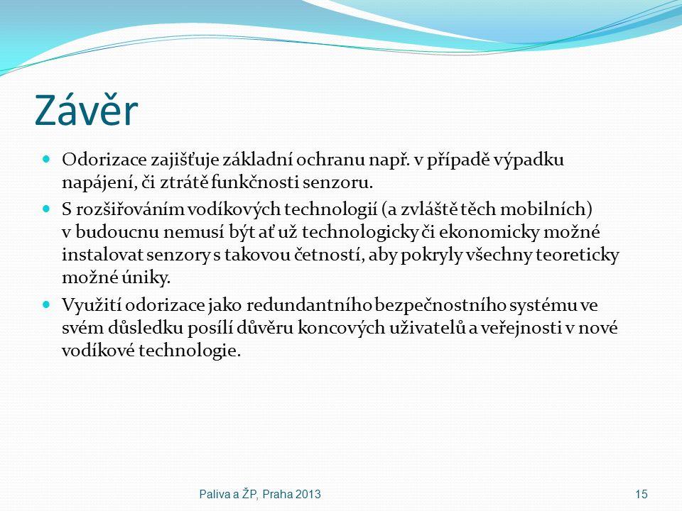 Závěr Odorizace zajišťuje základní ochranu např. v případě výpadku napájení, či ztrátě funkčnosti senzoru. S rozšiřováním vodíkových technologií (a zv