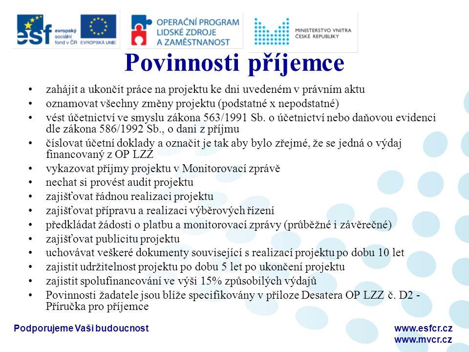 Podporujeme Vaši budoucnostwww.esfcr.cz www.mvcr.cz Povinnosti příjemce zahájit a ukončit práce na projektu ke dni uvedeném v právním aktu oznamovat v