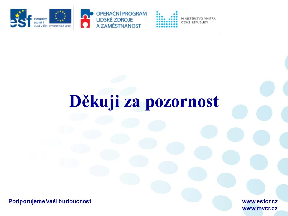 Podporujeme Vaši budoucnostwww.esfcr.cz www.mvcr.cz Děkuji za pozornost