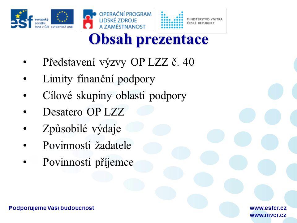 Podporujeme Vaši budoucnostwww.esfcr.cz www.mvcr.cz Obsah prezentace Představení výzvy OP LZZ č. 40 Limity finanční podpory Cílové skupiny oblasti pod