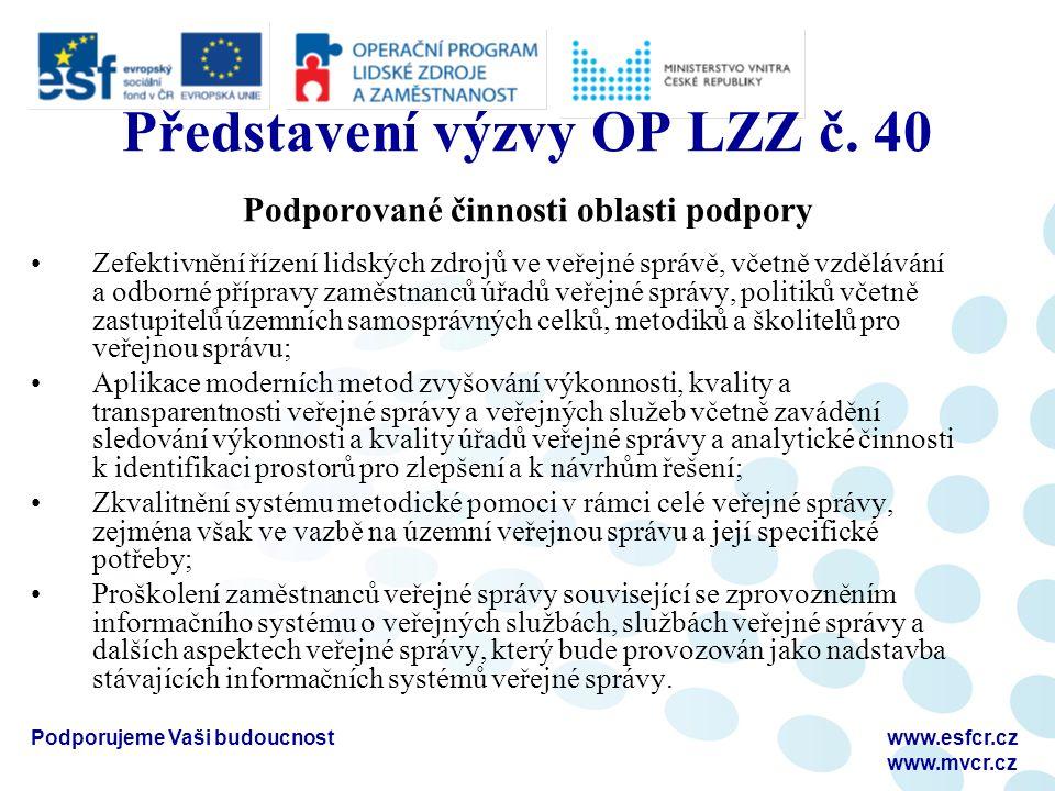 Podporujeme Vaši budoucnostwww.esfcr.cz www.mvcr.cz Představení výzvy OP LZZ č. 40 Podporované činnosti oblasti podpory Zefektivnění řízení lidských z