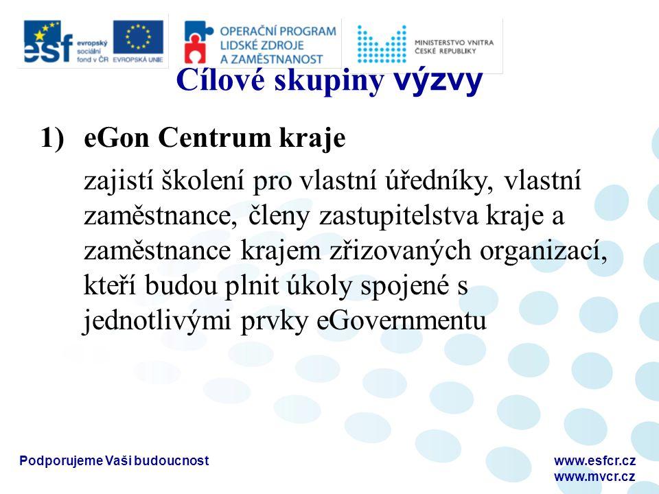 Podporujeme Vaši budoucnostwww.esfcr.cz www.mvcr.cz Cílové skupiny výzvy 1)eGon Centrum kraje zajistí školení pro vlastní úředníky, vlastní zaměstnanc