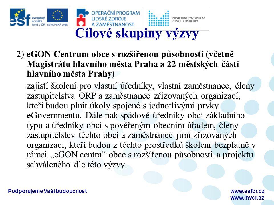 Podporujeme Vaši budoucnostwww.esfcr.cz www.mvcr.cz Cílové skupiny výzvy 2) eGON Centrum obce s rozšířenou působností (včetně Magistrátu hlavního měst