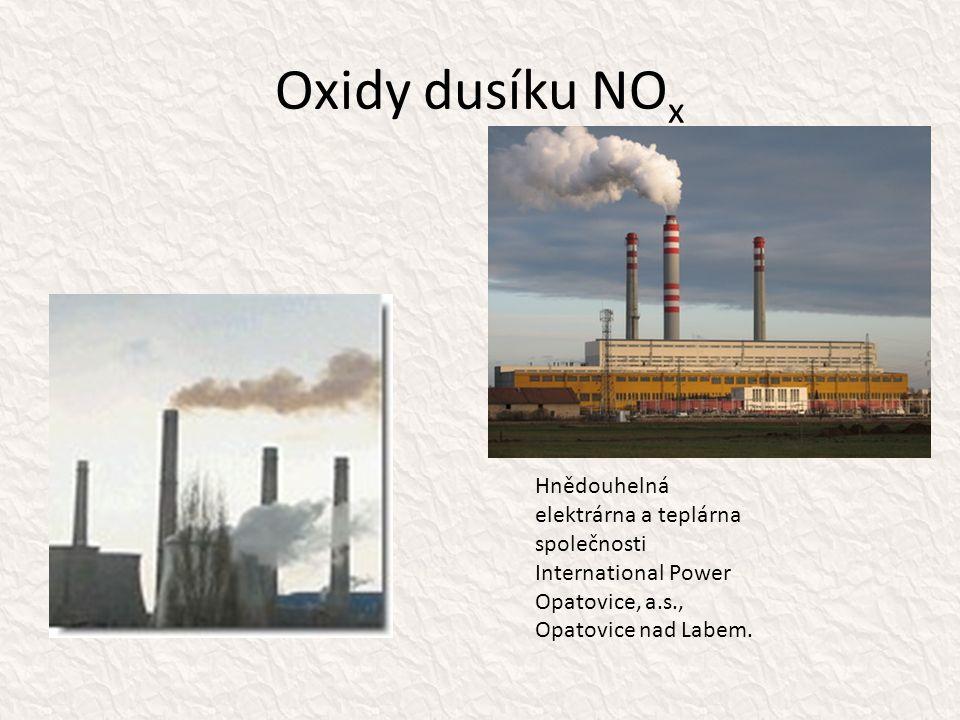 Oxidy dusíku NO x Hnědouhelná elektrárna a teplárna společnosti International Power Opatovice, a.s., Opatovice nad Labem.