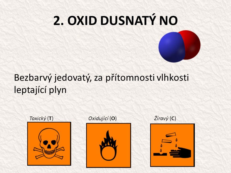2. OXID DUSNATÝ NO Bezbarvý jedovatý, za přítomnosti vlhkosti leptající plyn Toxický (T)Oxidující (O)Žíravý (C)