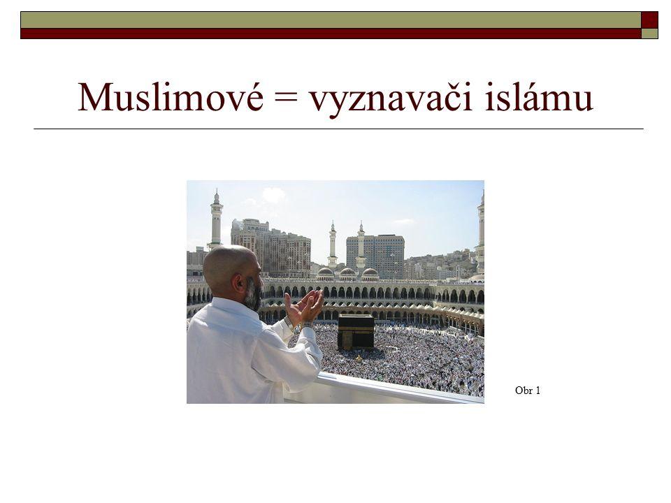 Muslimové = vyznavači islámu Obr 1