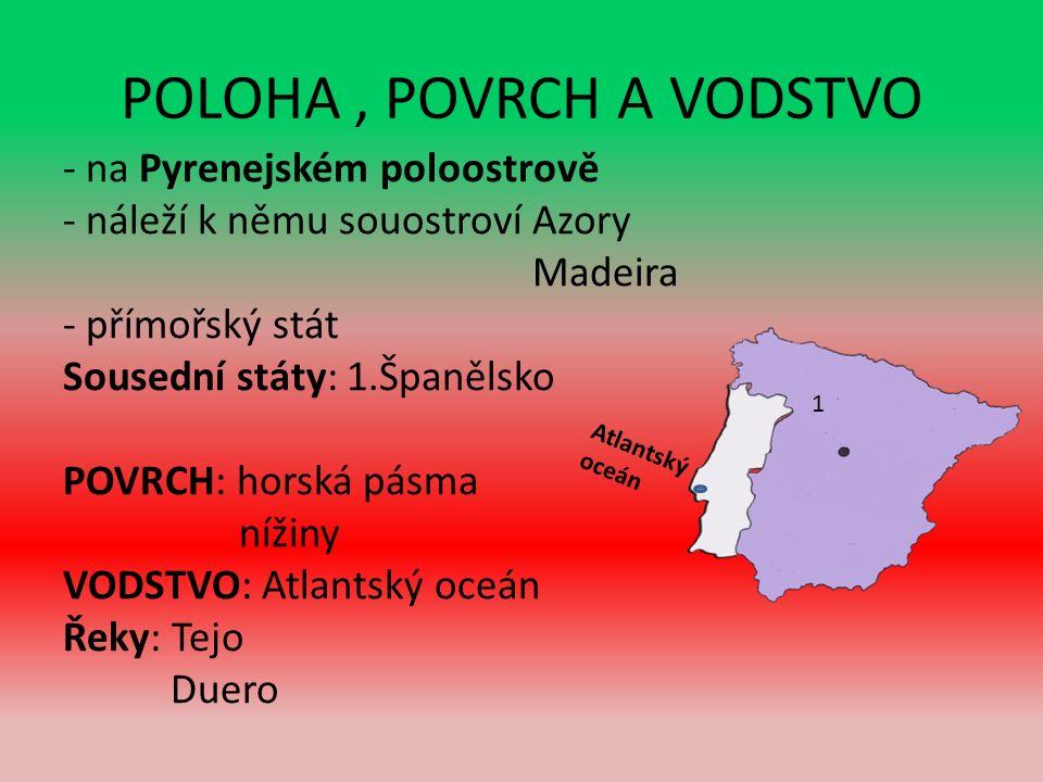 POLOHA, POVRCH A VODSTVO - na Pyrenejském poloostrově - náleží k němu souostroví Azory Madeira - přímořský stát Sousední státy: 1.Španělsko POVRCH: horská pásma nížiny VODSTVO: Atlantský oceán Řeky: Tejo Duero 1 Atlantský oceán