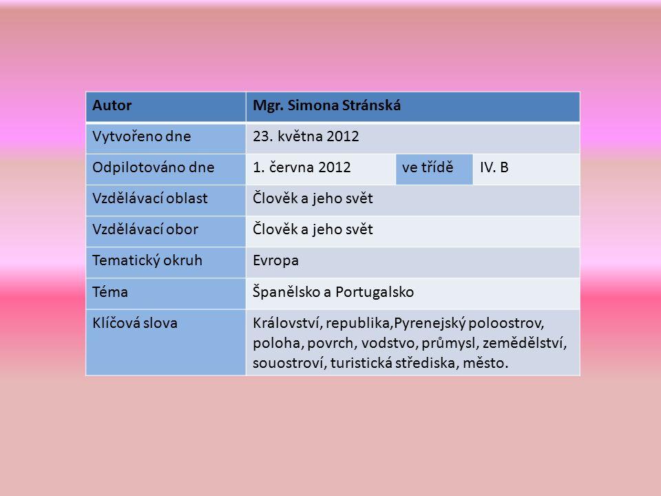 AutorMgr. Simona Stránská Vytvořeno dne23. května 2012 Odpilotováno dne1.