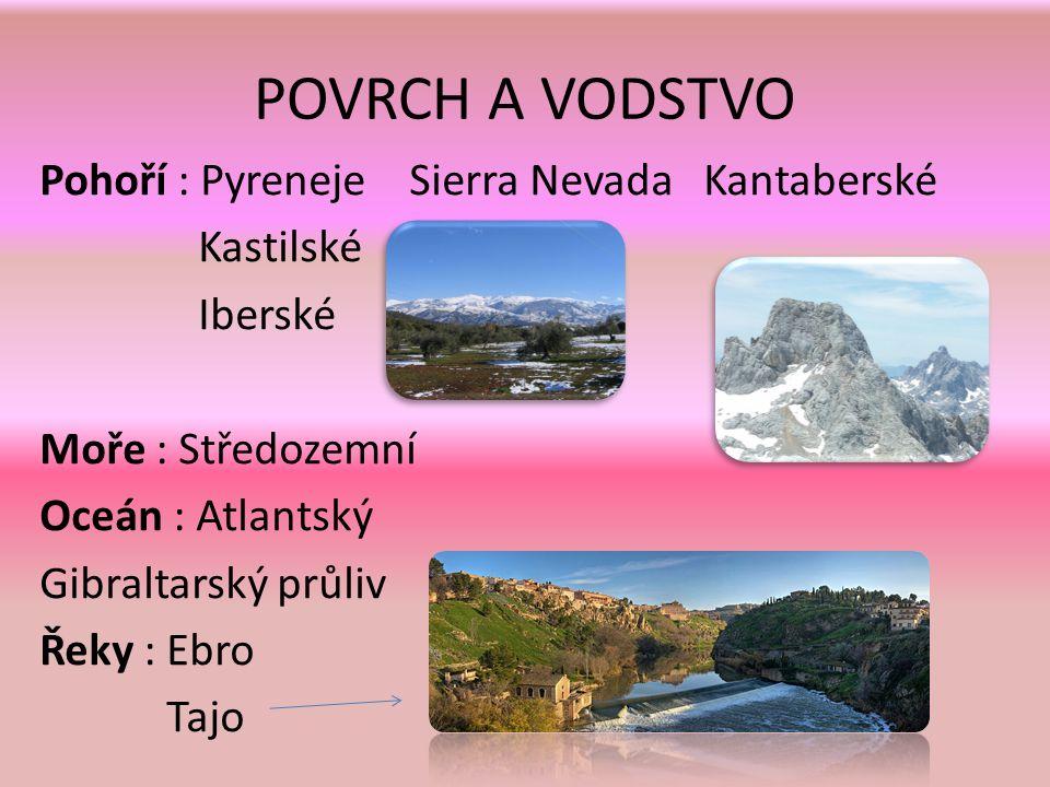 POVRCH A VODSTVO Pohoří : Pyreneje Sierra Nevada Kantaberské Kastilské Iberské Moře : Středozemní Oceán : Atlantský Gibraltarský průliv Řeky : Ebro Tajo
