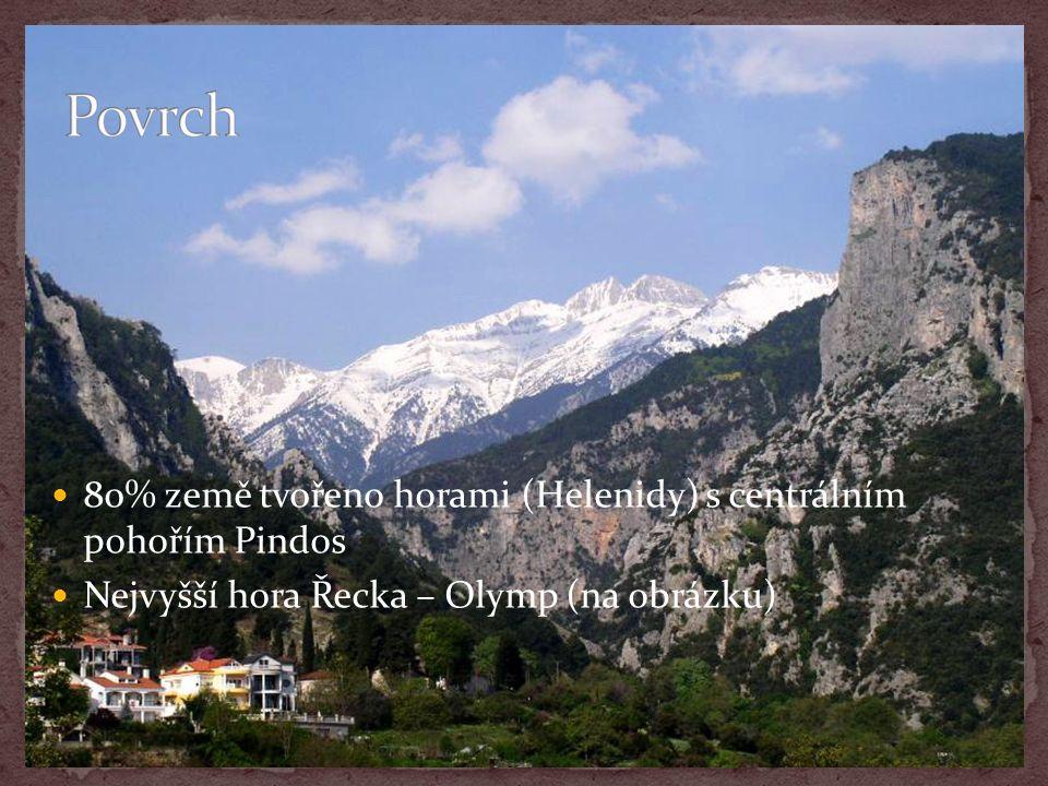 80% země tvořeno horami (Helenidy) s centrálním pohořím Pindos Nejvyšší hora Řecka – Olymp (na obrázku)