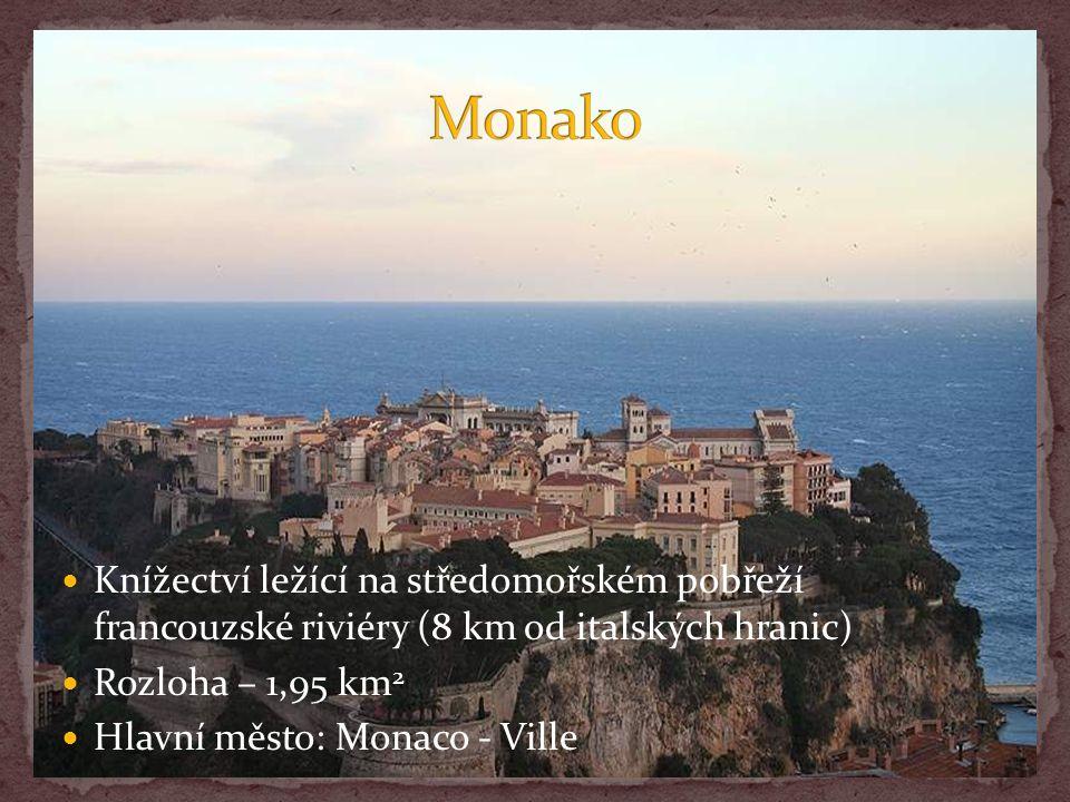 Knížectví ležící na středomořském pobřeží francouzské riviéry (8 km od italských hranic) Rozloha – 1,95 km 2 Hlavní město: Monaco - Ville