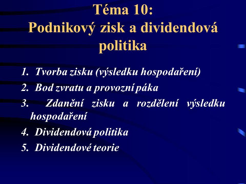 Téma 10: Podnikový zisk a dividendová politika 1. Tvorba zisku (výsledku hospodaření) 2. Bod zvratu a provozní páka 3. Zdanění zisku a rozdělení výsle