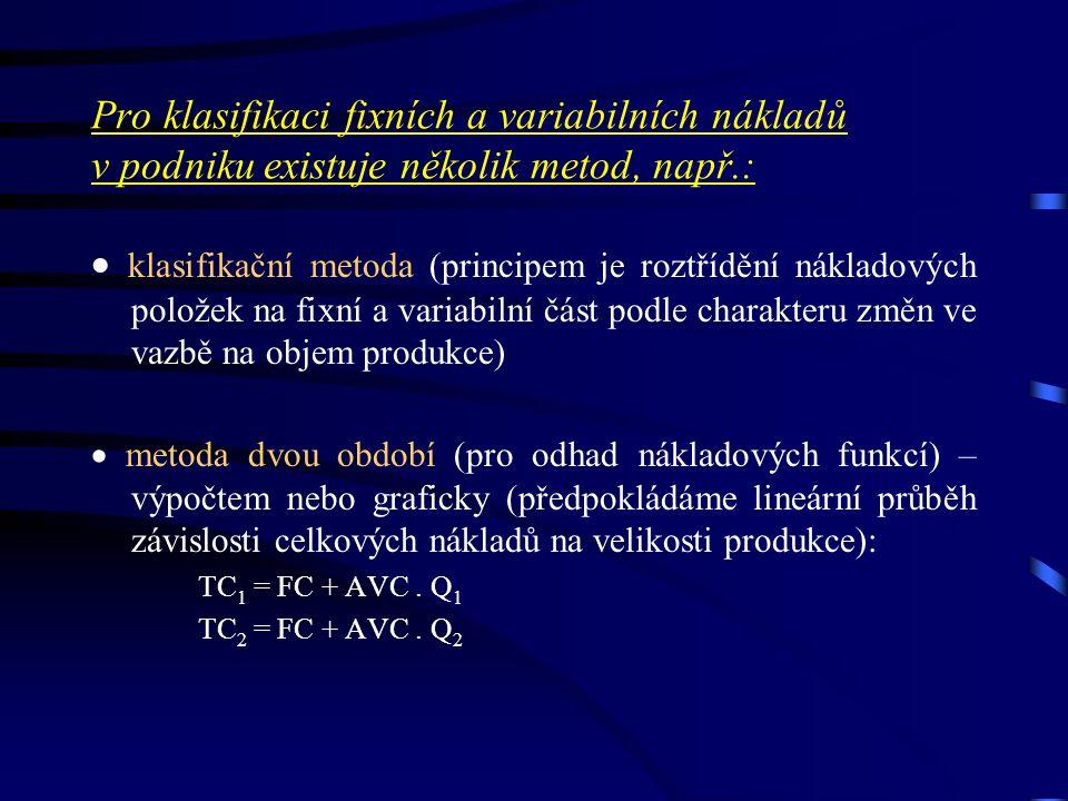 Pro klasifikaci fixních a variabilních nákladů v podniku existuje několik metod, např.:  klasifikační metoda (principem je roztřídění nákladových položek na fixní a variabilní část podle charakteru změn ve vazbě na objem produkce)  metoda dvou období (pro odhad nákladových funkcí) – výpočtem nebo graficky (předpokládáme lineární průběh závislosti celkových nákladů na velikosti produkce): TC 1 = FC + AVC.
