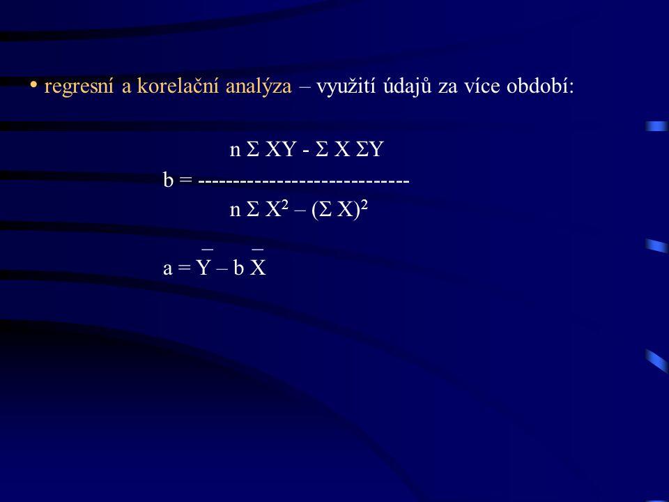 regresní a korelační analýza – využití údajů za více období: n  XY -  X  Y b = ----------------------------- n  X 2 – (  X) 2 _ _ a = Y – b X