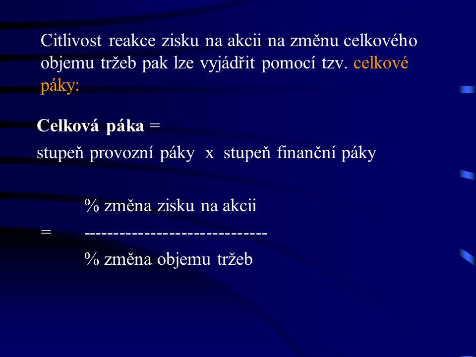 Citlivost reakce zisku na akcii na změnu celkového objemu tržeb pak lze vyjádřit pomocí tzv.
