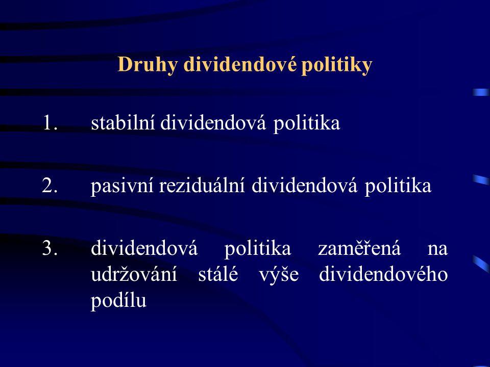Druhy dividendové politiky 1. stabilní dividendová politika 2. pasivní reziduální dividendová politika 3.dividendová politika zaměřená na udržování st