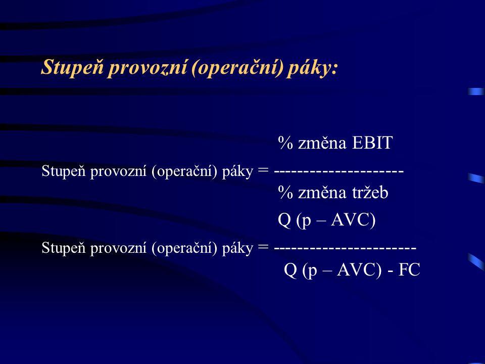 Stupeň provozní (operační) páky: % změna EBIT Stupeň provozní (operační) páky = --------------------- % změna tržeb Q (p – AVC) Stupeň provozní (opera
