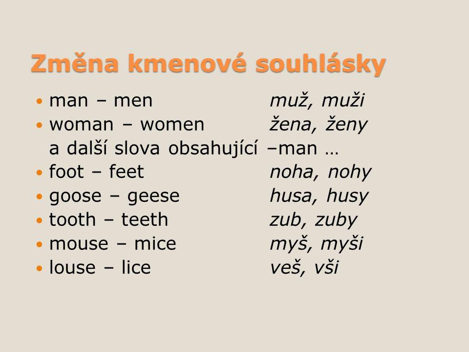 Změna kmenové souhlásky man – menmuž, muži woman – womenžena, ženy a další slova obsahující –man … foot – feetnoha, nohy goose – geesehusa, husy tooth – teethzub, zuby mouse – micemyš, myši louse – liceveš, vši