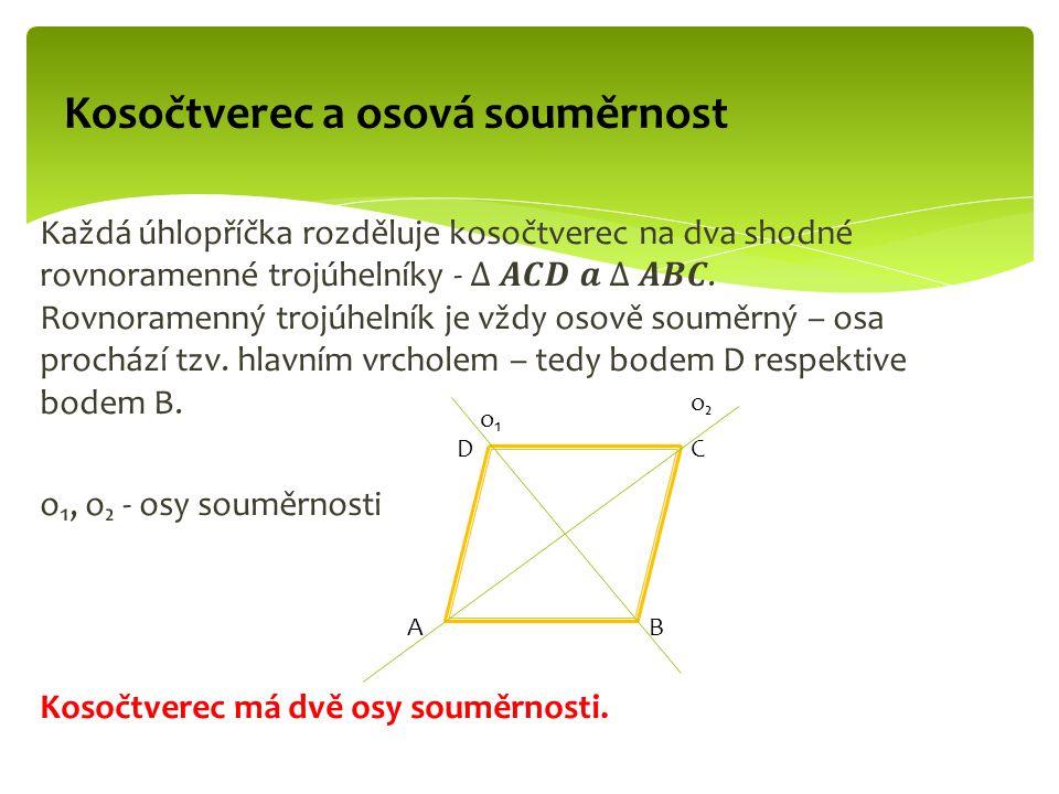 Kosočtverec a osová souměrnost AB CD o₁o₁ o₂o₂