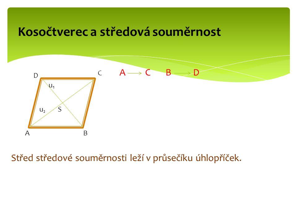 A C B D Střed středové souměrnosti leží v průsečíku úhlopříček. Kosočtverec a středová souměrnost AB C D S u₁u₁ u₂u₂