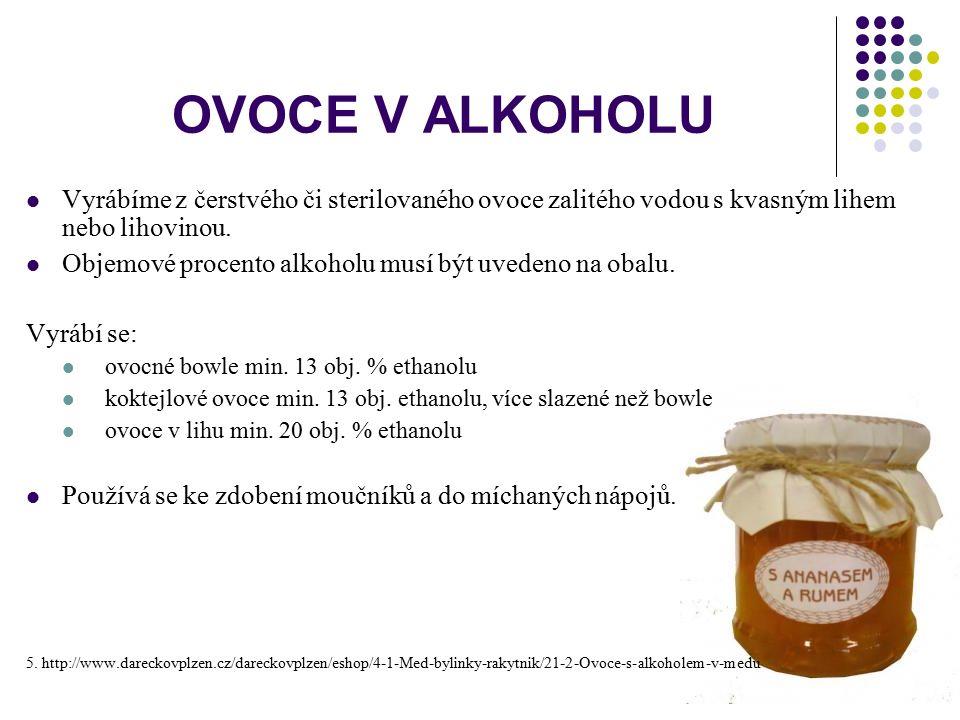 OVOCE V ALKOHOLU Vyrábíme z čerstvého či sterilovaného ovoce zalitého vodou s kvasným lihem nebo lihovinou. Objemové procento alkoholu musí být uveden