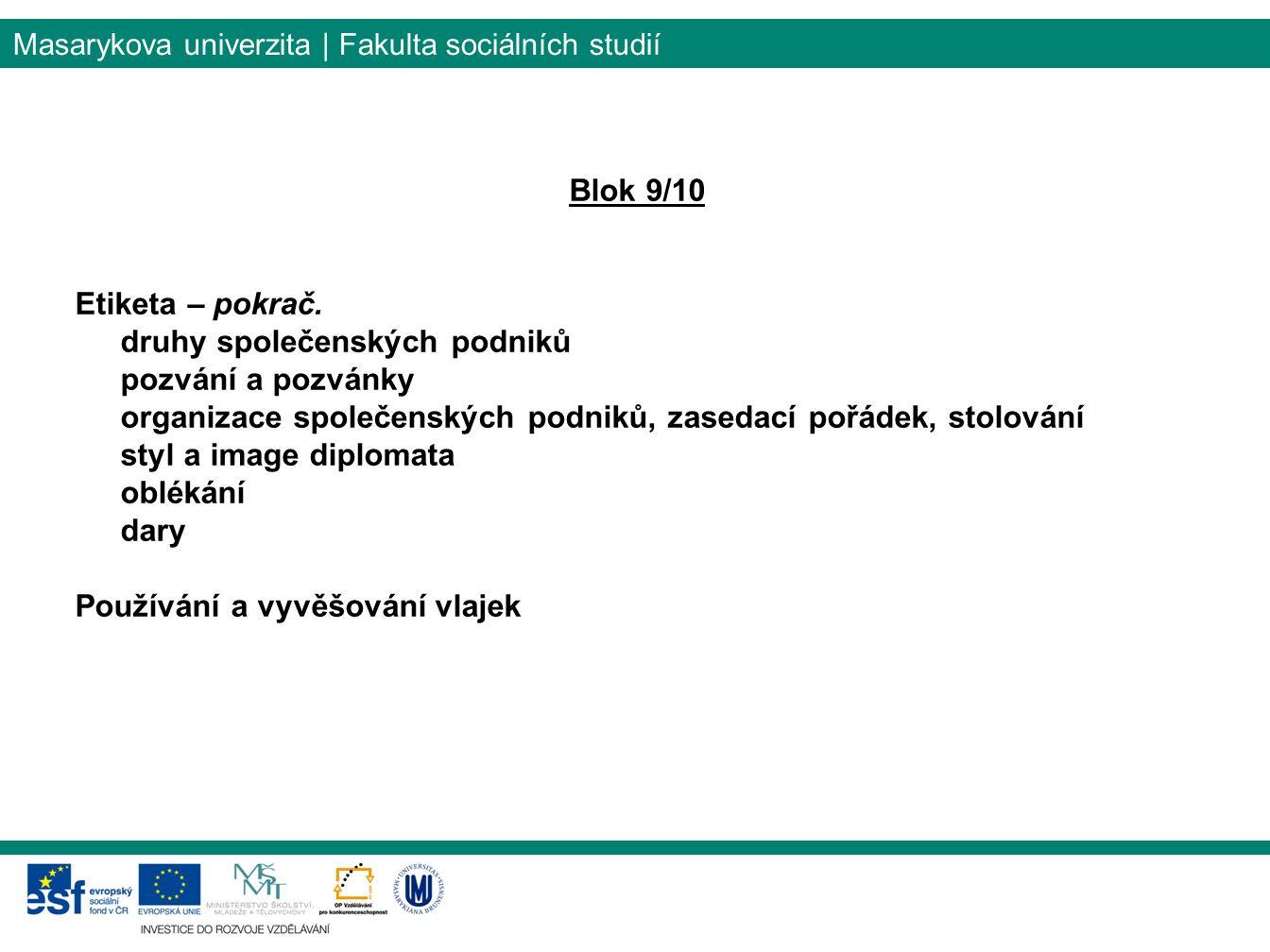 Masarykova univerzita | Fakulta sociálních studií Blok 9/10 Etiketa – pokrač.