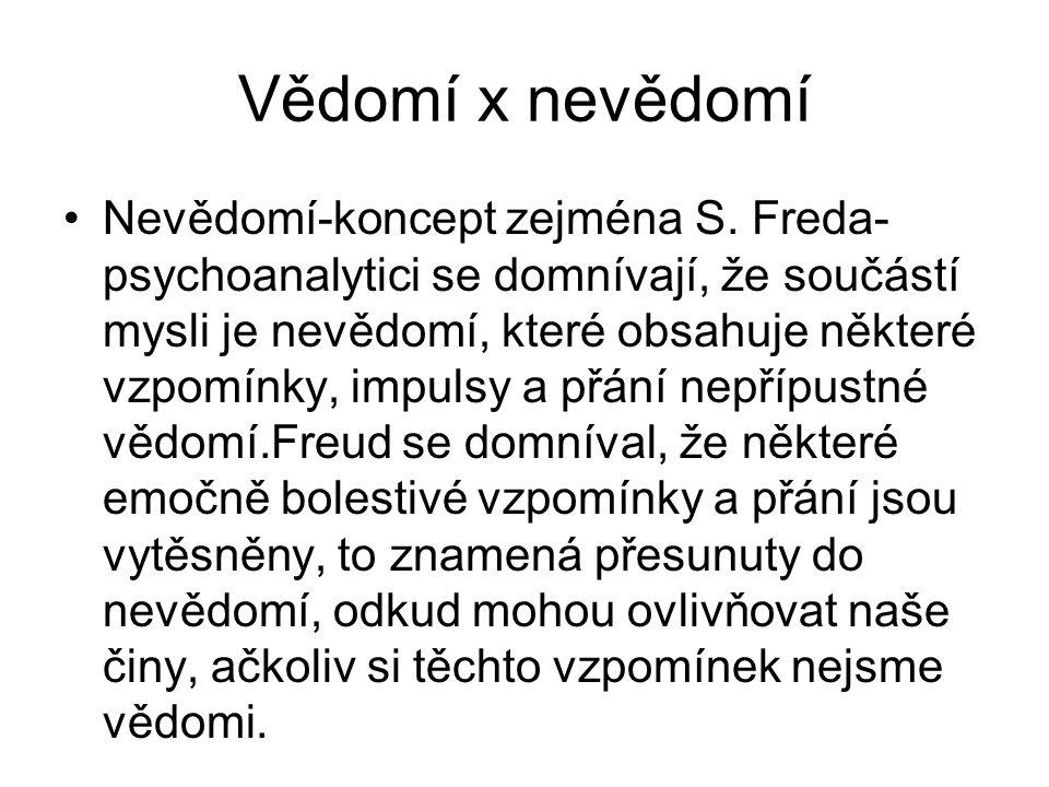 Vědomí x nevědomí Nevědomí-koncept zejména S.