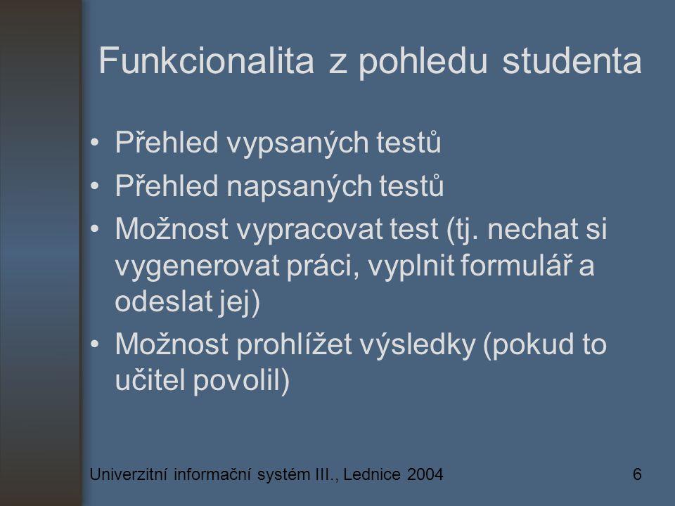 Univerzitní informační systém III., Lednice 20046 Funkcionalita z pohledu studenta Přehled vypsaných testů Přehled napsaných testů Možnost vypracovat test (tj.