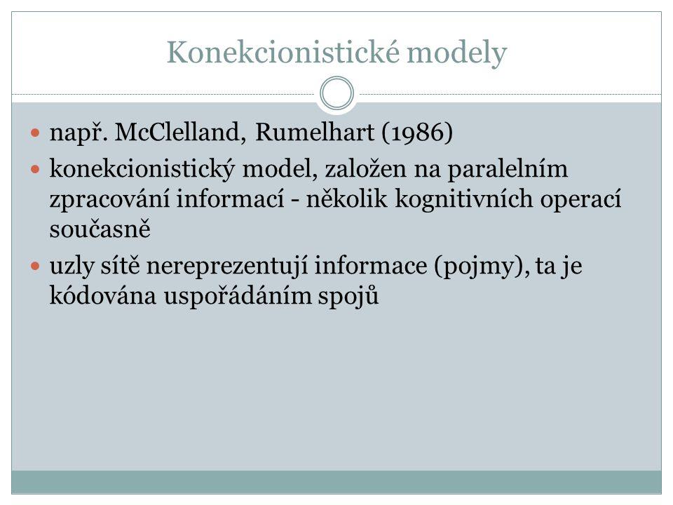 Konekcionistické modely např.