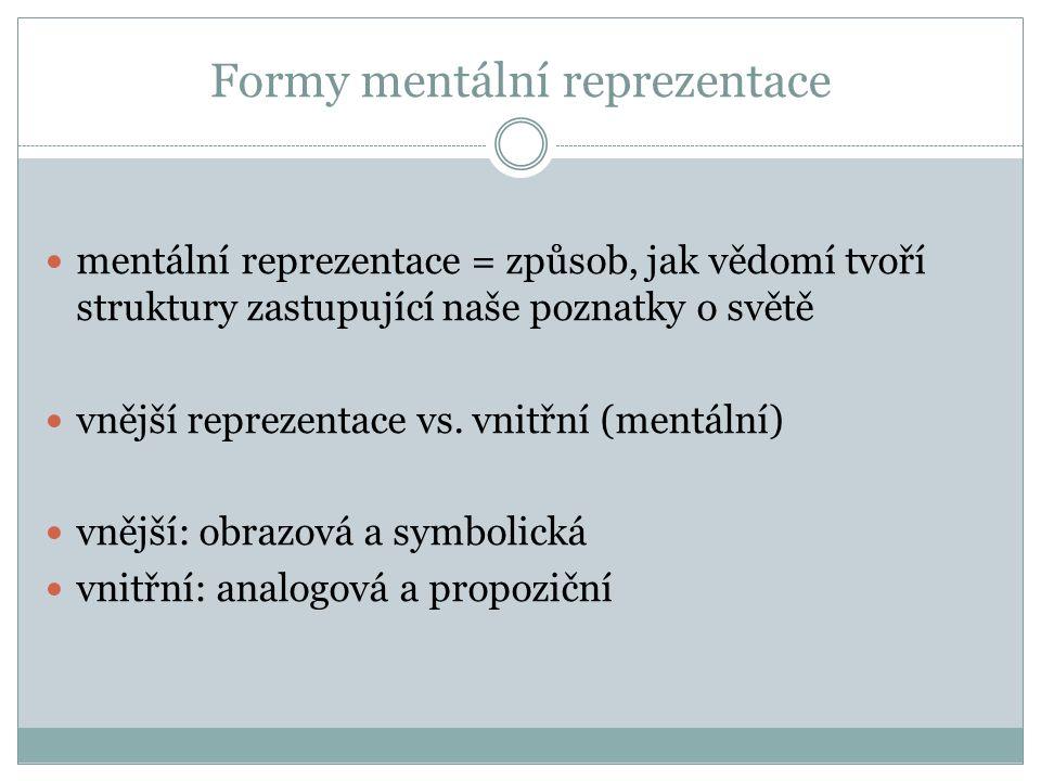 Formy mentální reprezentace mentální reprezentace = způsob, jak vědomí tvoří struktury zastupující naše poznatky o světě vnější reprezentace vs.