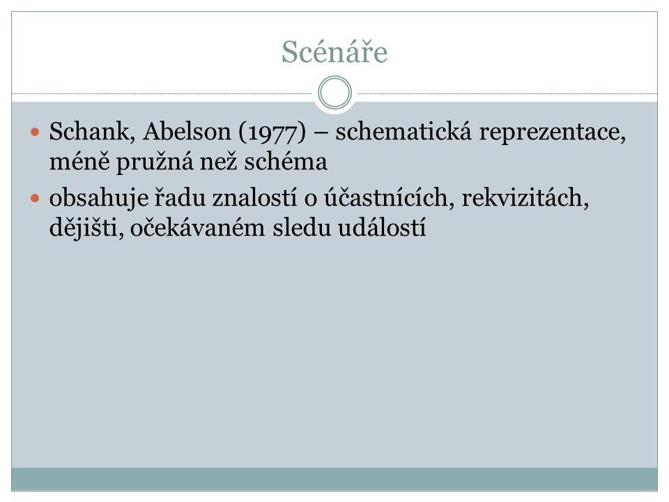 Scénáře Schank, Abelson (1977) – schematická reprezentace, méně pružná než schéma obsahuje řadu znalostí o účastnících, rekvizitách, dějišti, očekávaném sledu událostí