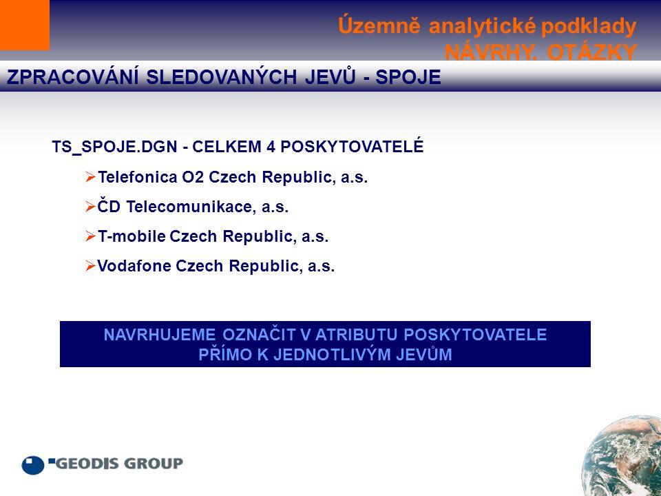 Územně analytické podklady NÁVRHY, OTÁZKY ZPRACOVÁNÍ SLEDOVANÝCH JEVŮ - SPOJE TS_SPOJE.DGN - CELKEM 4 POSKYTOVATELÉ  Telefonica O2 Czech Republic, a.s.